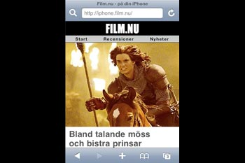 Så ser Film.nu ut på en iPhone, eller iPod Touch