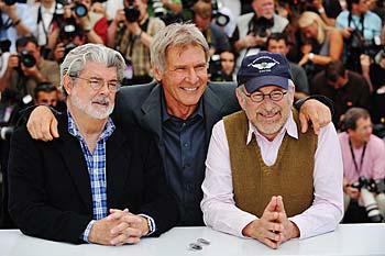 George Lucas, Harrison Ford och Steven Spielberg under presskonferensen för nya Indiana Jones-filmen i Cannes. Getty Images/UIP