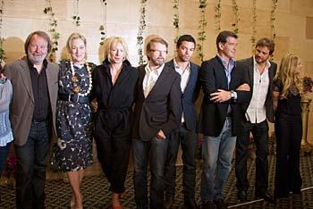 Presskonferens på Grand hotel i Stockholm med bland andra Meryl Streep, Björn & Benny, Colin Firth och Pierce Brosnan. Esbjörn Guwallius/Film.nu