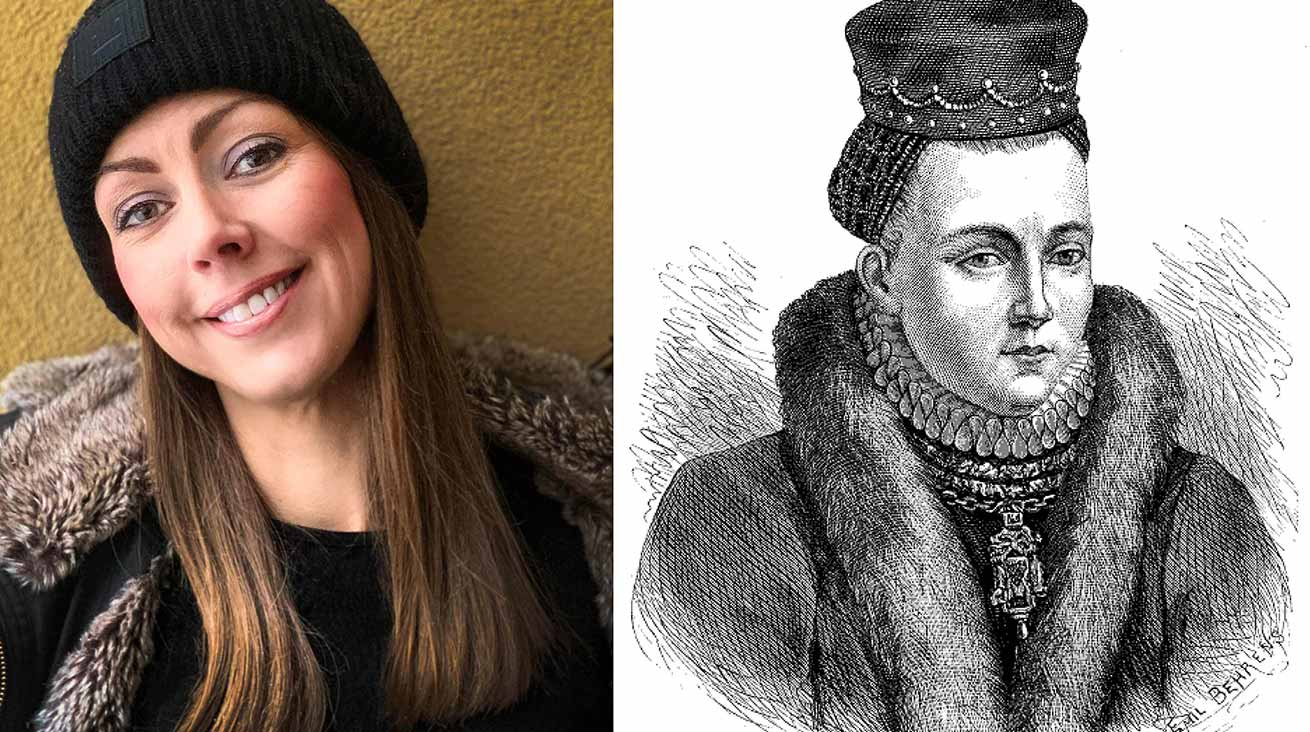Maria Karlsson samt en illustration av Kristina Gyllenstierna. Foto: SF Studios, Wikimedia Commons/Public domain